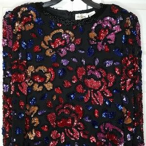 Oleg Cassani vintage silk sequin top